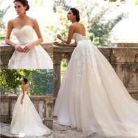 비즈와 함께 연인 라인 코트 열차 샴페인 웨딩 드레스 로맨틱 신부 가운 밀라 노바 빈티지 레이스 Vestido de Novia