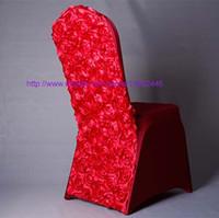 100 unids Nueva Rosa Roja Satén Y Spandex Rosetón Volver cubierta de la silla blanca Spandex Comedor Renovación Silla Cubre Para La Boda