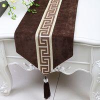 Extra lang 120 inch effen patchwork kanten tafel runner luxe fluwelen tafel matten placemats europe american stijl high-end eettafel doek