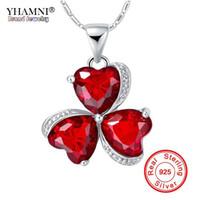 YHAMNI De Luxe 100% 925 Sterling Collier En Argent Nouveau Bijoux De Mode Rouge Coeur Trèfle De Cristal Pendentif Collier Pour Les Femmes N880
