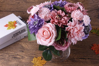 Silk flower wedding bouquet roses dahlias Artificial flowers...