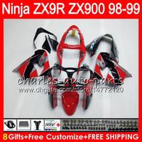 8Gifts 23colors para Kawasaki ZX 9 R ZX9R 98 99 00 01 900cc 48HM11 fábrica roja ZX 9R ZX900 ZX900C ZX9R kit 1998 1999 2000 2001 carenado