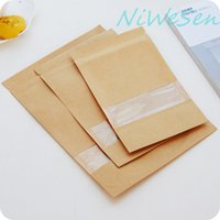 Free shipping 10X15+ 3cm 100pcs X Brown Standing kraft paper ...