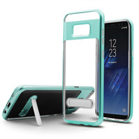 Kickstand Case Crystal Clear Armor Case Hybrid TPU+PU Cases Cover For Iphone X XR XS Max Samsung S8 S9 S10 Plus S10E J2 J7
