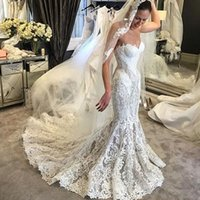 2017 Mermaid Full Lace Abiti da sposa Sweetheart lungo Sweep Train Abiti da sposa Custom Made Summer Beach Abiti da sposa di lusso