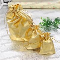 جديد 4 الأحجام موضة الذهب مطلي الشاش الحرير مجوهرات حقائب الحقائب والمجوهرات هدية عيد حقيبة 5x7 سنتيمتر 7x9 سنتيمتر 9x12 سنتيمتر 13x18 سنتيمتر