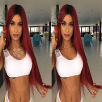 Hot Ombre Wine Red Synthetic Lace Front Wig Silky Straight T...