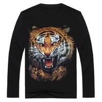 2017 Moda streetwear hombres camiseta con estampado de tigre 3D de manga larga de metal rock ropa animal camiseta negro o cuello Tops camiseta de los hombres BMTX18 F