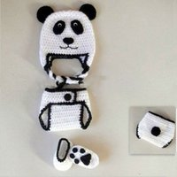 Novelty Adorable Newborn Panda Bear Costume, Handmade Knit Cr...