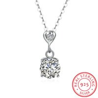Hot Sales Real 925 Sterling Silver 4A Zircon Heart Pendant N...