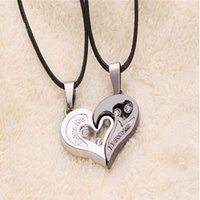 Wholesale- 2 Pcs Stylish His and Hers Heart Pendant English L...