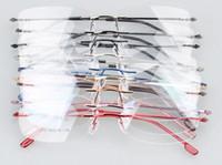 حار بيع! بدون شفة المفصلي الذاكرة التيتانيوم الأطر البصرية النظارات 9 اللون اختيار (808) ---- 50 قطعة / الوحدة