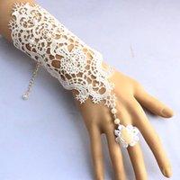 Kant bruidshandschoenen 2017 verstelbare zwarte avondkleding handschoenen met bloemen en parels in stock bruiloft handschoenen