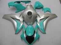 혼다 CBR1000RR 용 사출 성형 플라스틱 페어링 키트 2008-2011 은색 녹색 페어링 세트 CBR1000RR 08 09 10 11 OT05