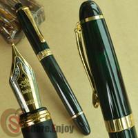 جديد Jinhao X450 الأخضر الداكن والنافورة الذهبي القلم 18 KGP 0.7MM Broad Nib النبيذ الأرجواني الأزرق الأحمر 20 الألوان والحبر Jinhao 450