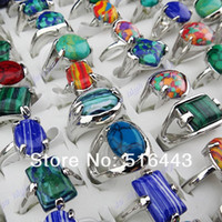 New Arrival 50pcs Charms Vintage Mix Natural Malachite Stones Turquoise Silver Womens Mens Rings Wholesale Jewelry Lots A-918