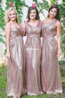 Lentejuelas de oro rosa Vestidos de dama de honor 2019 El más nuevo Cuello de novia Una línea Cremallera Parte posterior del piso Longitud Dama Honor Vestido de boda