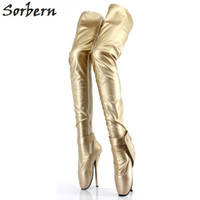 Bottes de ballet en or mat Extreme High Heel 18Cm / 7