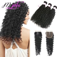 Peruvian hair human hair bundles with closure deep wave hair...