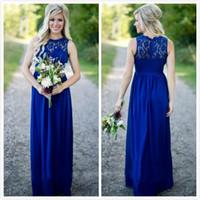 Country Style Royal Bleu Longue Robes De Bal Pas Cher Dentelle Jewel Neck Zipper Retour En Mousseline De Soie De La Honneur Robes Étage Longueur
