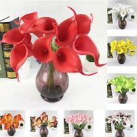 20 adet / grup Promosyon Mini Boyutu PU Calla Lily Gerçek Dokunmatik Dekoratif Çiçek Yapay Çiçek Düğün Parti Çiçek