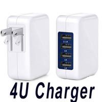 여행 충전기 4 포트 USB 벽 충전기 삼성 안 드 로이드 전화에 대 한 접는 플러그와 고속 휴대용 전원 어댑터