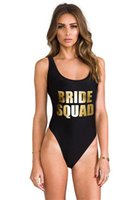 Bikini Women Letter Print SQUAD One Piece Swimsuit TEAM BRID...