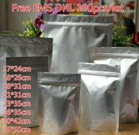 무료 EMS DHL 100 개 / 몫 L XL XXL XXXL XXXXL 다양한 크기 지퍼 잠금 스탠드 씰 스탠드 알루미늄 호일 가방 자체 밀봉 식품 분말 가방