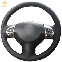 Mewant Black Genuine Leather Car Steering Wheel Cover for Mi...