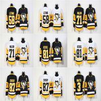 Cheap 2018 New Brand annuncio Mens Pittsburgh Penguins 87 Sidney Crosby 71 Evgeni Malkin 81 Phil Kessel Kris Letang Olli Maatta maglie da hockey