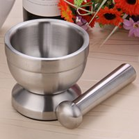 Double Stainless Steel Garlic Grinder Metal Mortar Salt And ...