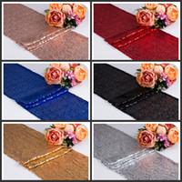 30 * 275cm Stoff Tischläufer Gold Silber Sequin Tischtuch Sparkly Bling für Hochzeit Dekoration Produkte Supplies