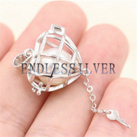 Желая Pearl Клетка Кулон 925 стерлингового серебра украшения сердца ключ Openable Медальон Подвеска Подвеска для Pearl партии