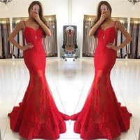 Red Sexy Spaghetti Straps Lace Appliques Evening Dresses 201...