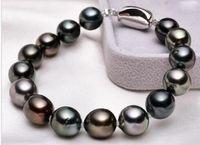 """Brillante gioiello di perle 7,5 """"10-11mm natutal tahitian genuino nero perle di pavone rotondo braccialetto"""