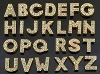الجملة 8 ملليمتر 1300 قطعة / الوحدة A-Z ذهبي كامل حجر الراين الشريحة رسائل diy الأبجدية سحر صالح لل 8 ملليمتر الجلود الاسوره شرائط الهاتف