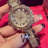 ¡¡Edición limitada!! Relojes de diamantes de imitación de las mujeres Vestido de dama Reloj de las mujeres Marca de fábrica superior del diamante Reloj de pulsera de lujo Señoras Relojes de cuarzo de cristal
