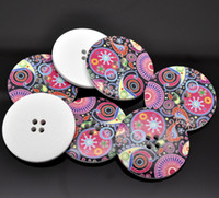 DIY clothing accessories painted round four holes wooden 40m...