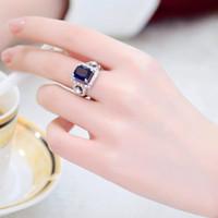 Il matrimonio delle donne Xia Mu nuovo anello di gioielli di cristallo anello di personalità femminile gioielli gioielli di moda coreano Blu di lusso tutto-fiammifero ind