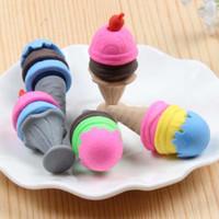 10 pz / lotto carino colorato gelato forma matita gomma regalo di natale ufficio forniture scolastiche creativo gomma premio eraser spedizione gratuita