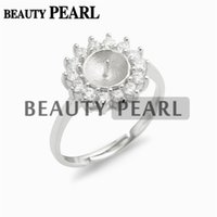 Pearl Settings Ring Mount Findings 925 Sterling Silver Cubic...