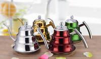 Paslanmaz Çelik kahve su ısıtıcısı Kettle Renkli Dökün Pot Kahve Çay 1.2L Kapasitesi Dökün Kahve Su Isıtıcısı Üzerinde Dökün