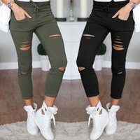 Women Denim Skinny Cut Pencil Pants High Waist Stretch Jeans Trousers Cotton Drawstring Slim Leggings
