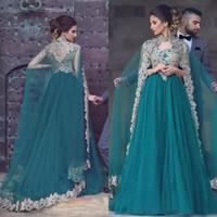 Superbe 2018 sarcelle Tulle arabe robes de soirée avec des appliques de dentelle jolie col haut Wraps robes formelles sur mesure EN10078