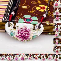Совершенно новые керамические украшенные украшения ожерелье подвесной насыщенные пион пастельные плитки WFN484 (с цепью) смешать Заказать 20 штук