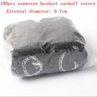 Envío gratis 100pack of Black Nonwoven Sanitary Auriculares Cubiertas Desechables Nonwoven 6-7cm Auriculares Auriculares Cubre 500 unids / lote