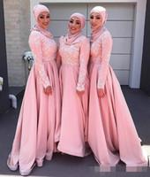 Fard à joues rose 2019 Muslim robes de demoiselle d'honneur manches longues Équipage Applique Robes de soirée en ligne Modeste demoiselle d'honneur robes