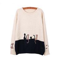 Wholesale-Femmes tricoté à manches longues à manches à manches O-cou broderie Cat Patchwork Pullwork 2016 Automne hiver Femmes Pullovers Pull Femme Jumper Hauts