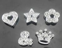 100 pz / lotto 8mm mix stili (cuore stella corona fiore) pieno di fascini dello scorrevole adatto per 8 MM portachiavi in pelle FAI DA TE