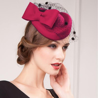Natal Kate Middleton Chapéu Prom Coquetel Chapéus De Lã De Alta Qualidade Crepe Borgonha Especial Ocasião Chapéus Chapéu De Noiva